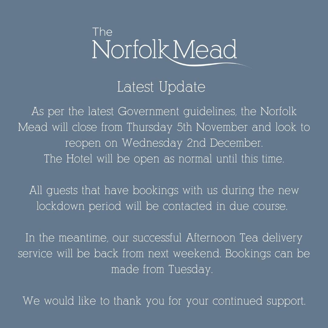 Lockdown 2.0 update from The Norfolk Mead Hotel