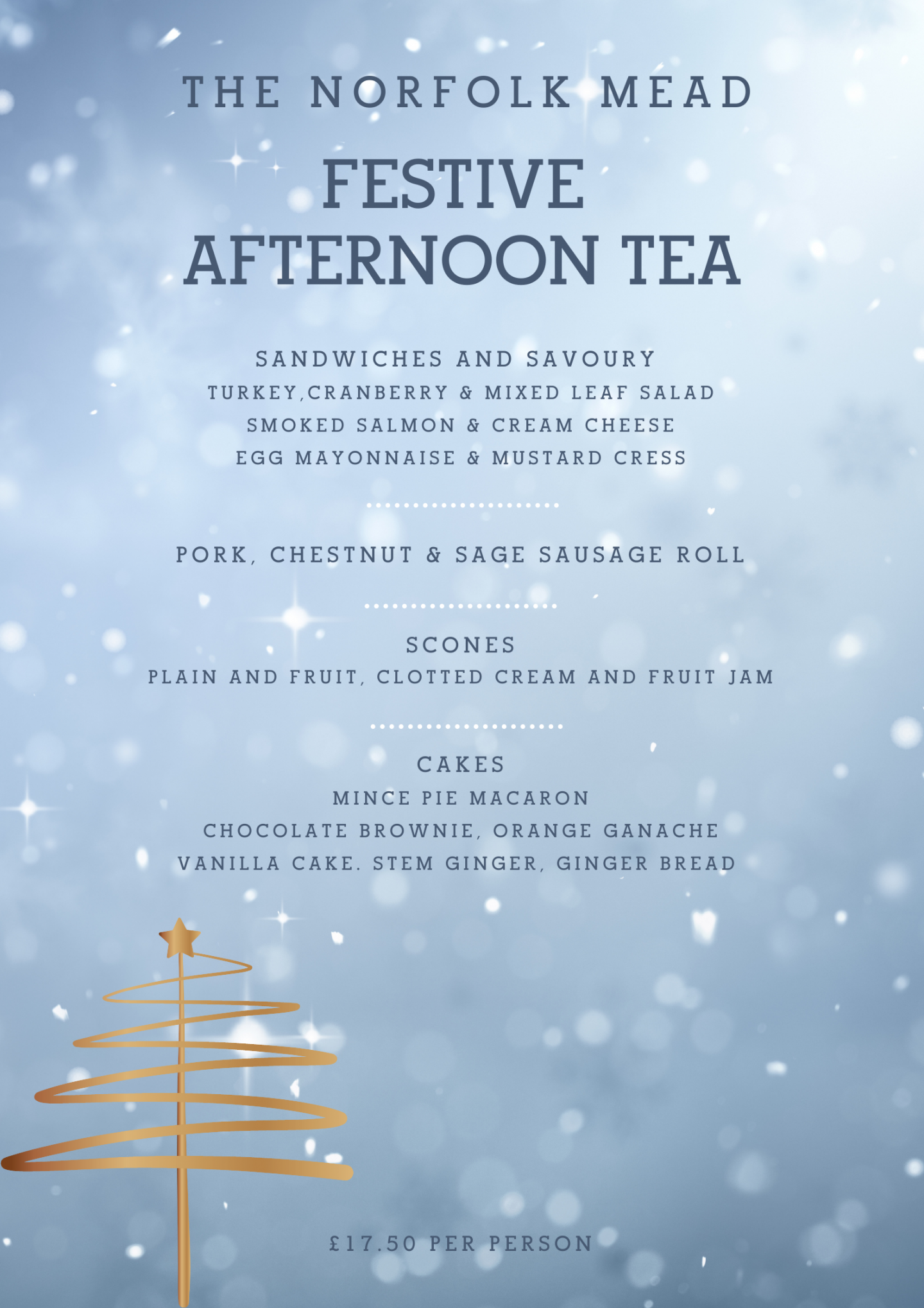 Festive Afternoon Tea Menu at The Norfolk Mead