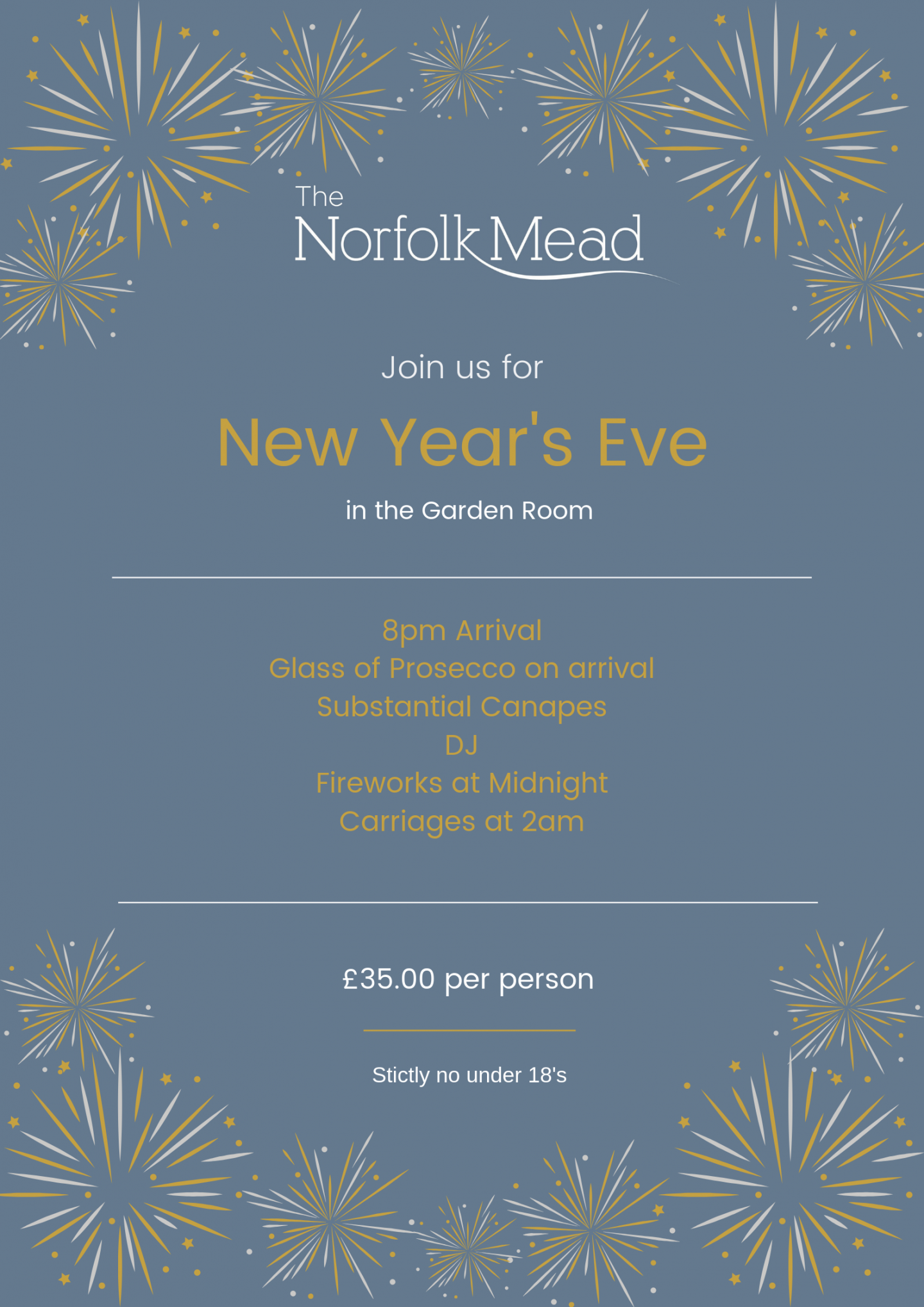 Norfolk Mead NYE in the Garden Room