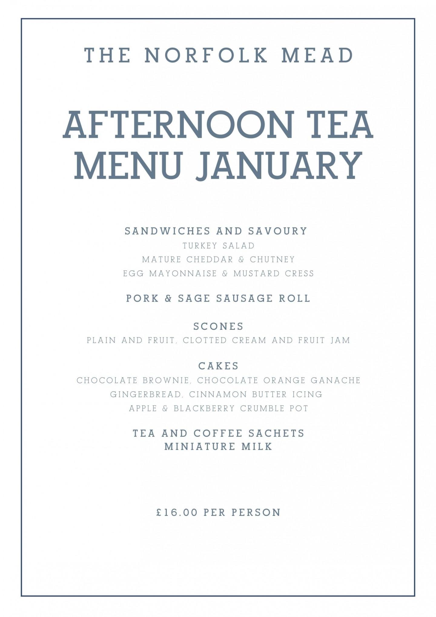 January Takeaway Afternoon Tea Menu