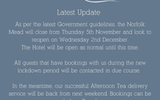 Lockdown 2.0 update from The Norfolk Mead Hotel